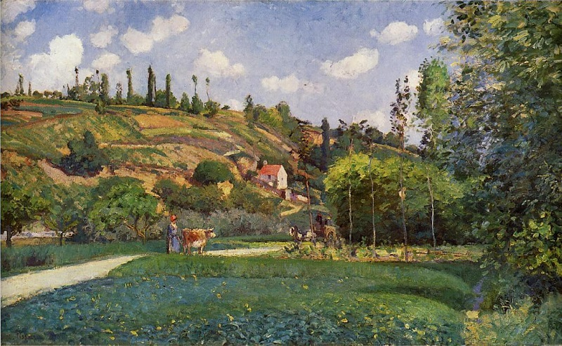 Pissarro - a cowherd on the route de chou pontoise 1874