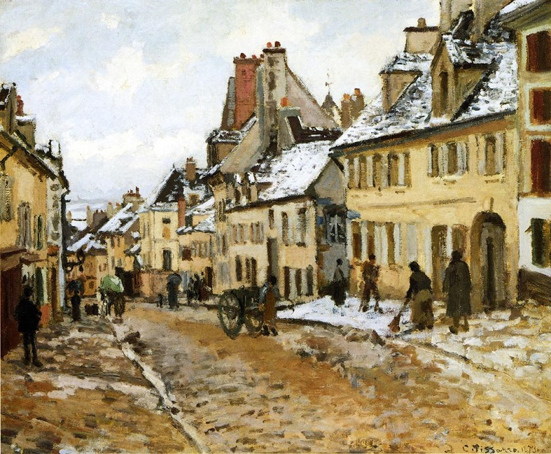 Pissarro - pontoise the road to gisors in winter - 1873