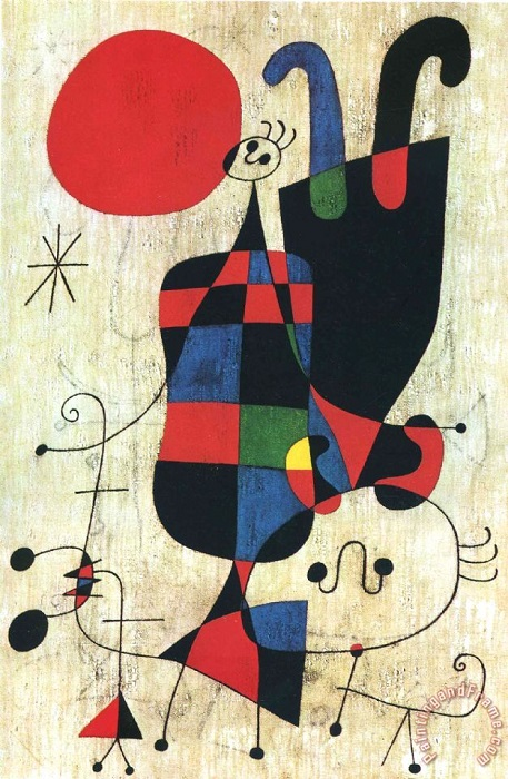 Joan Miró - Figures and Dog in Front of the Sun (1949)