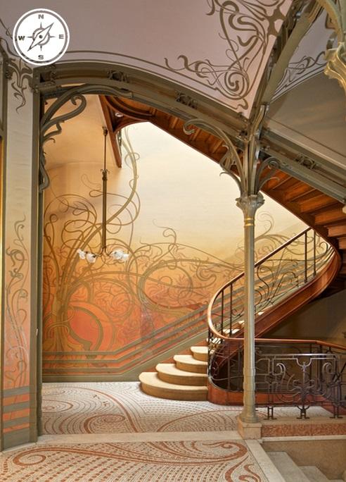 Interno di una casa in stile Art Noveau di Victor Horta