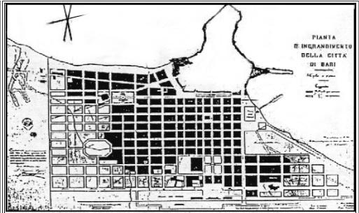 Bari - Quartiere di Murat - Pianta di ingrandimento della città
