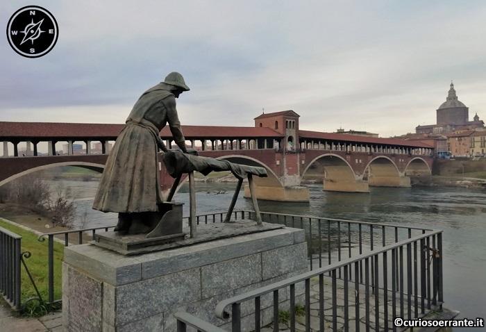 Pavia - Ponte Coperto da burg a bass