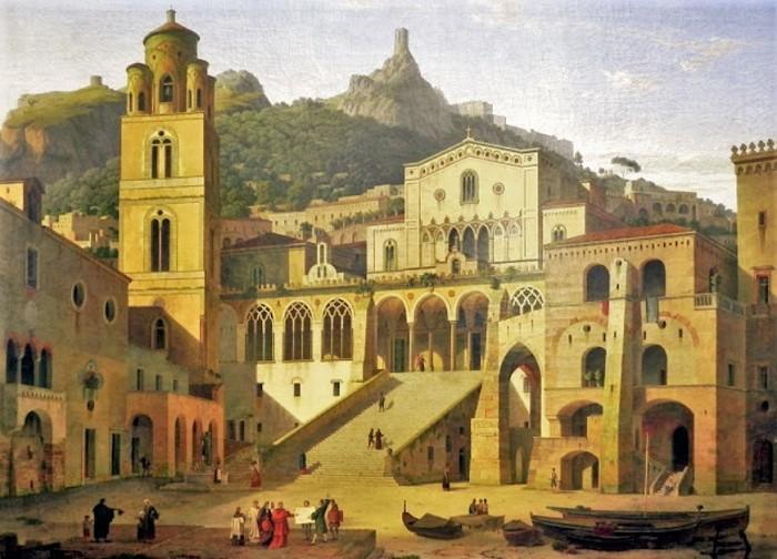 Amalfi -Duomo di Sant'Andrea nel Settecento da Dipinto