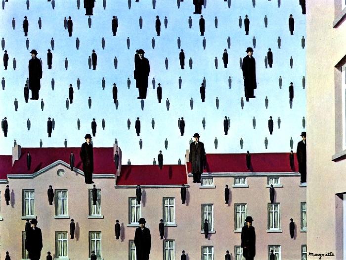 René Magritte - Golconda 1953