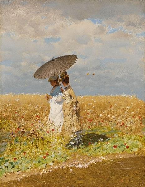 Giuseppe De Nittis - Tra le spighe del grano (1873)