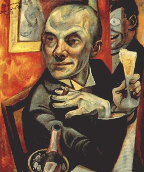 Max Beckmann - Autoritratto con bicchiere di champagne (1919)