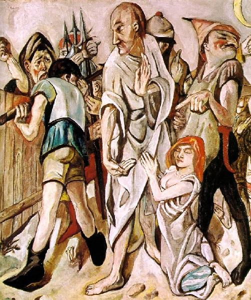Max Beckmann - Cristo e la donna presa in adulterio (1917)