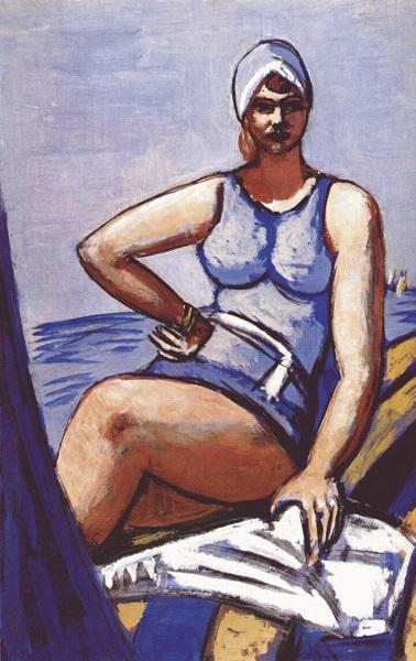 Max Beckmann - Quappi su una nave blu (1950)