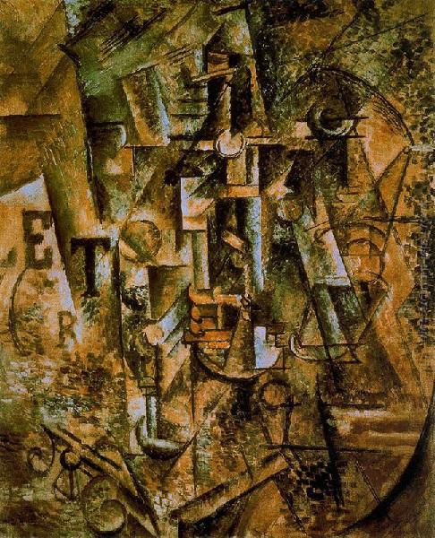 Pablo Picasso - Natura morta con bottiglia di liquore (1909)