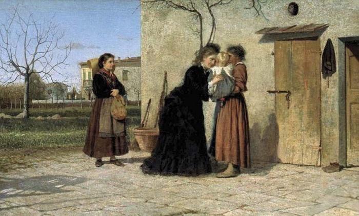 SIlvestro Lega - Visita alla balia (1873)