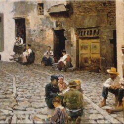 Telemaco Signorini - Chiacchiere in Riomaggiore (1893)