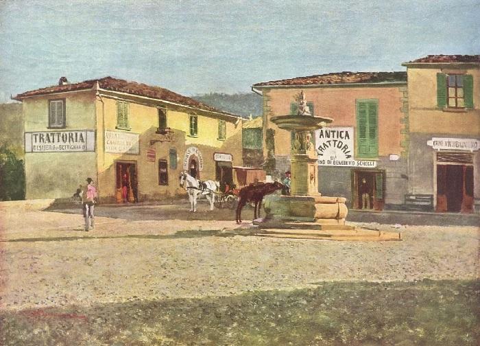 Telemaco Signorini - Piazzetta di Settignano (1880)
