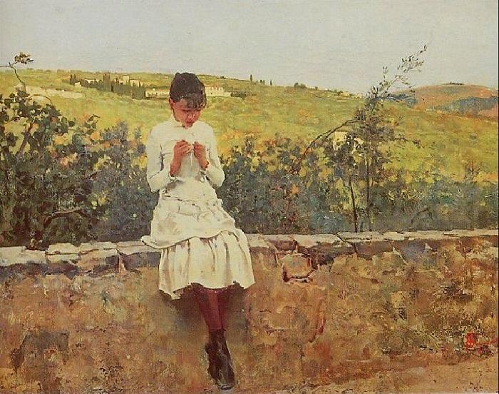 Telemaco Signorini - Sulle colline a Settignano (1885)