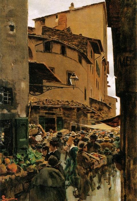 Telemaco Signorini - Via Calimala (1889)