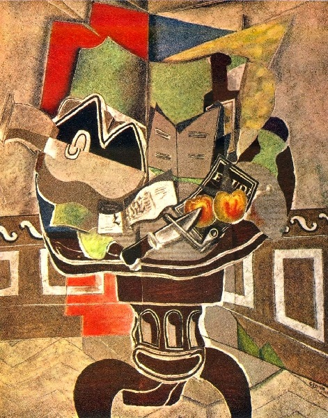 Georges Braque - The round table with guitar (1929)