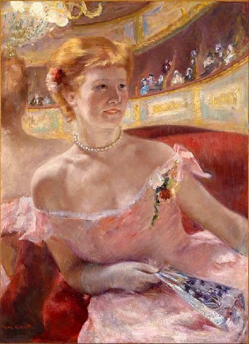 Mary Cassatt - Woman with a Pearl Necklace in a Loge (1879)