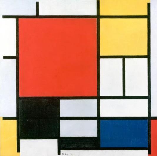 Piet Mondrain - Composizione con grande piano rosso, giallo nero, grigio e blu (1921)