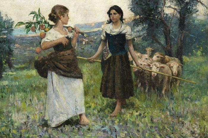 Francesco Paolo Michetti - Due Pastorelle con pecore (1875)