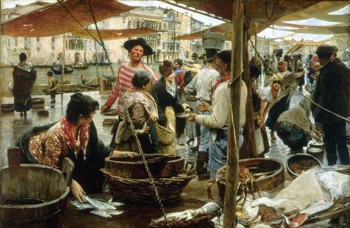 Ettore Tito - La vecchia pescheria (1887)