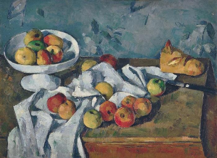 Paul Cézanne - Natura morta con fruttiera, mele e pane (1879–1880)