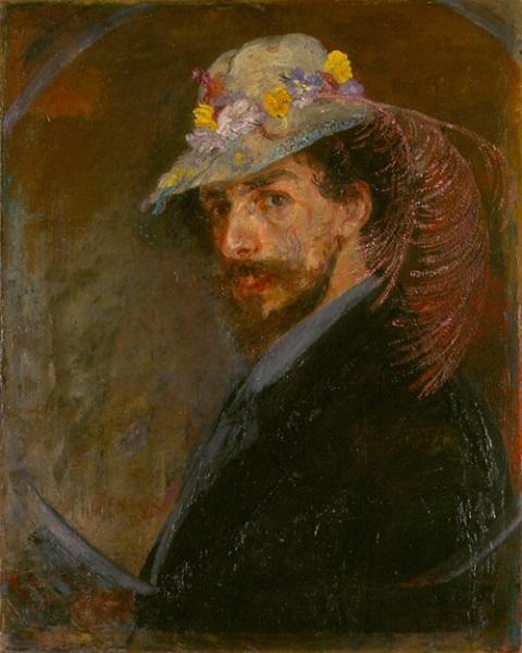 James Ensor - Autoritratto con cappello fiorito (1883)