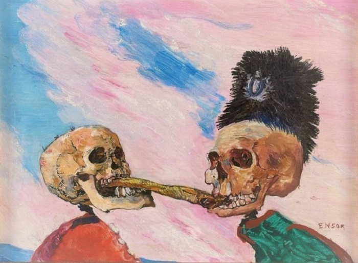 James Ensor - Skeletons fighting over a pickled herring (1891)