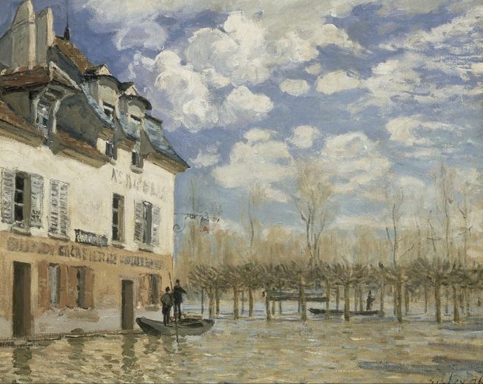 Alfred Sisley - La barque pendant l'inondation, Port-Marly (1876)